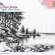 Nellie Snellen Clear stamp idyllic floral scene Waters edge